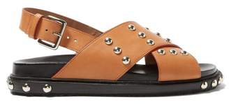 Marni Studded Cross Strap Leather Sandals - Womens - Tan