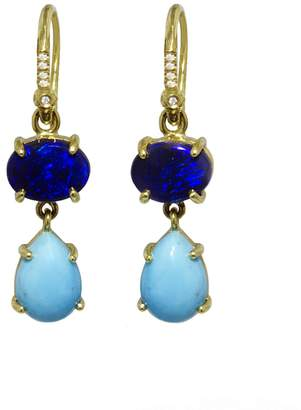 Irene Neuwirth Blue Opal And Turquoise Teardrop Drop Earrings