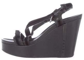 Prada Sport Velvet-Accented Wedge Sandals