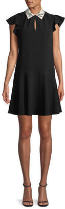 Rebecca Taylor Sleeveless Bird-Embellished Collar Crepe A-Line Mini Dress