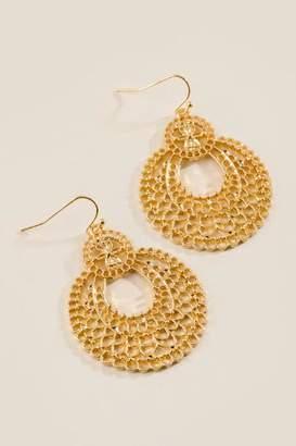 francesca's Mandy Filigree Circle Drop Earrings - Gold
