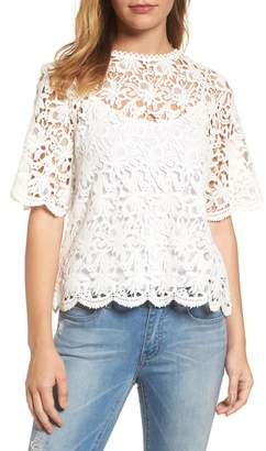 Velvet by Graham & Spencer Lace Elbow Sleeve Blouse