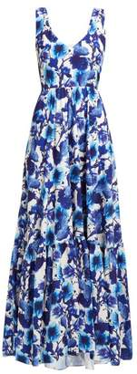 Borgo de Nor Venetia Venus Print Crepe Maxi Dress - Womens - Blue White