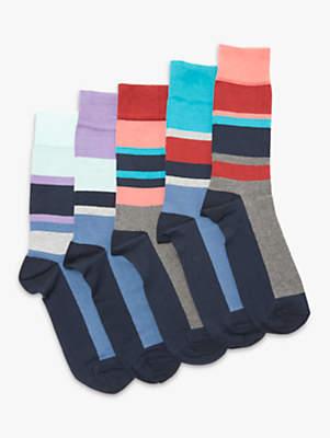 John Lewis Sport Stripe Socks, Pack of 5, Multi