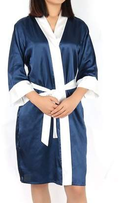 Unique Bargains Satin Robe Dressing Gown Rayon Wedding Bride Bridesmaid (White+Dark Blue, XL)