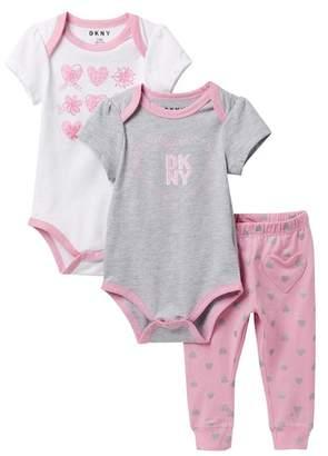 DKNY City Set Heart Pattern Bodysuits and Leggings (Baby Girls 0-9M)