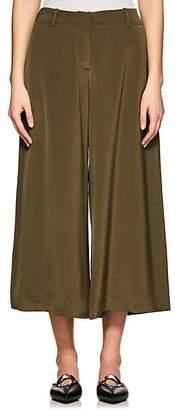 Ji Oh Women's Mercer Silk Wide-Leg Pants - Green