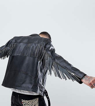 Reclaimed Vintage revived fringed leather biker jacket