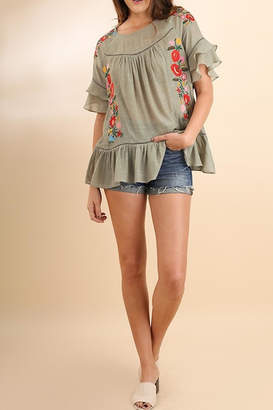Umgee USA Floral Ruffle Blouse