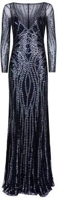 Jenny Packham Sequin V-Neck Gown