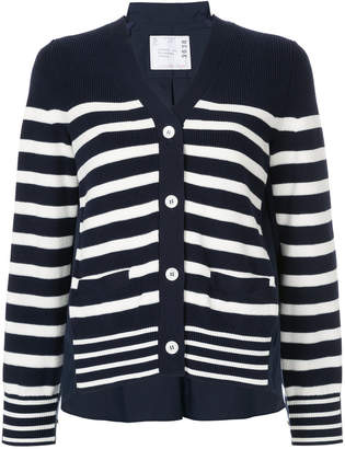 Sacai striped back pleat cardigan