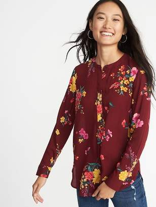 Old Navy Floral-Print Popover Tunic Shirt for Women