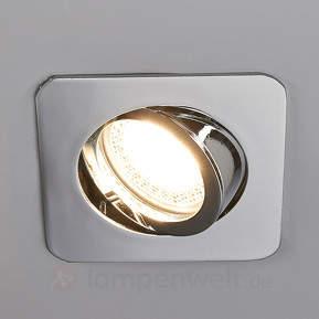 Chromglänzender LED-Einbaustrahler Lisara, eckig