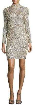 Parker Long-Sleeve Sequined Sheath Dress, Champagne $675 thestylecure.com