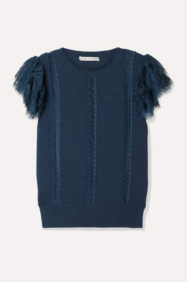 Alice + Olivia Rosio Lace-trimmed Knitted Sweater - Storm blue