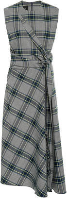 Cédric Charlier Plaid Draped Crepe Dress