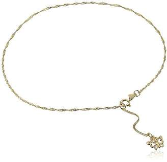 14k Gold Anklet with Sparkling Butterfly Charm
