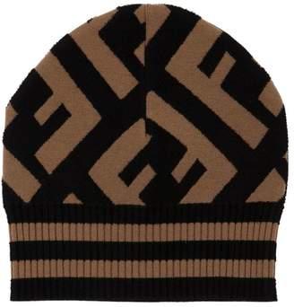 Fendi Logo Stretch Wool Knit Beanie Hat