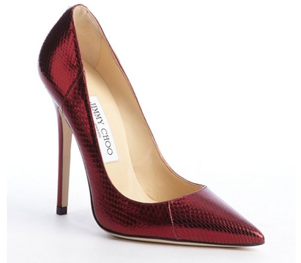 Jimmy Choo claret red snake embossed leather 'Anouk' pumps