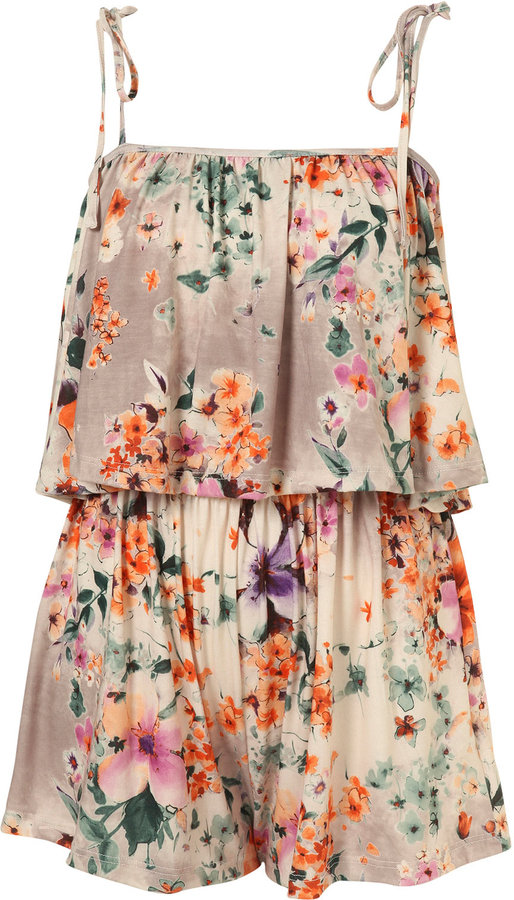 Nude Floral Double Layer Playsuit