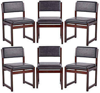 Rejuvenation Set of 6 Mid-Century Mahogany Dining Chairs