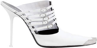 Alexander Wang Minna Cap Toe White Stiletto Mules