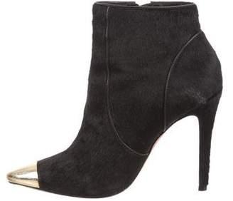 Alice + Olivia Cap-Toe Ponyhair Ankle Boots