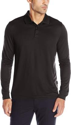 Perry Ellis Men's 3 Button Long Sleeve Jacquard Polo