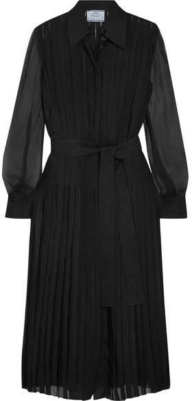 Prada - Pleated Silk-chiffon Midi Dress - Black