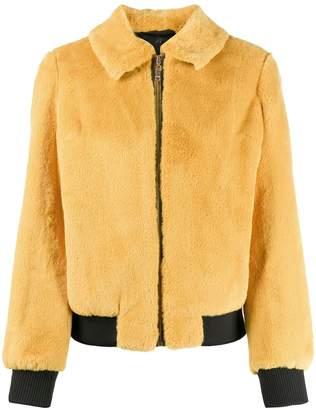 Twin-Set shearling zipped bomber jacket