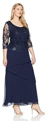 Le Bos Women's Size Sequin Embroidered Long Dress Plus