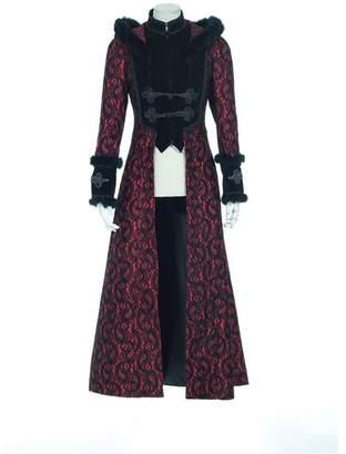 DEVIL SHACKLES Steampunk Gothic Women Fur Long Jackets Coats Vintage Winter Overcoats (L, )