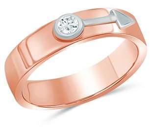 Love and Pride 14K White Gold & 14K Rose Gold Diamond Male Insignia Ring