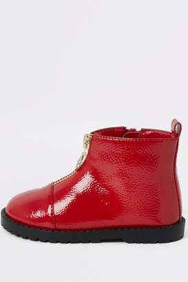 River Island Girls Red Zip Front Cleated Boots - Red