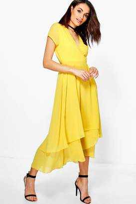 boohoo Chiffon Cap Sleeve Ruffle Midi Dress