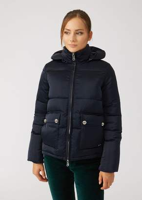Emporio Armani Padded Jacket With Hood In Glossy Nylon