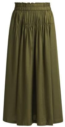 Apiece Apart Elin Ruched Midi Skirt - Womens - Khaki