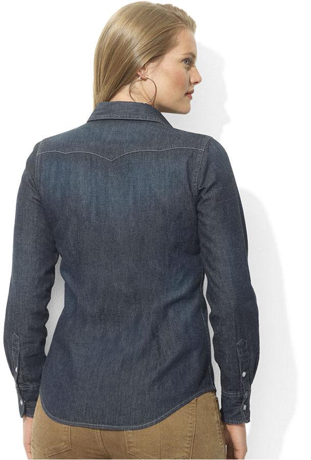 Lauren Ralph Lauren Plus Size Long-Sleeve Western-Yoke Denim Shirt