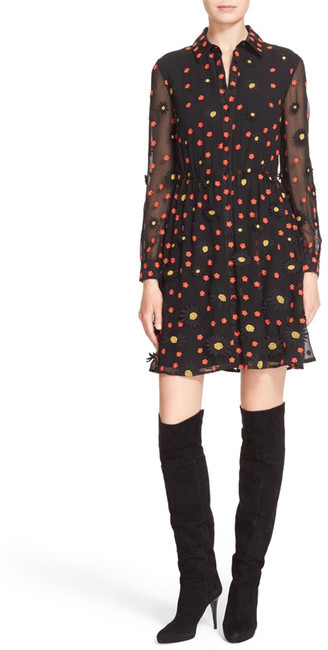 Alice + Olivia alice + olivia 'Enid' Embroidered Organza Shirtdress