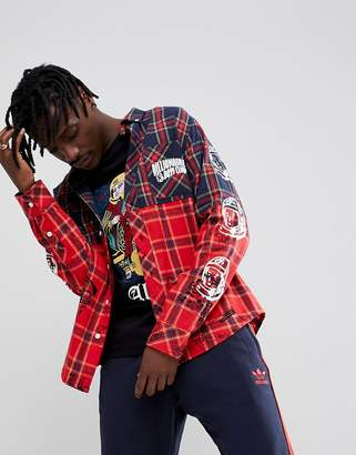 Billionaire Boys Club Check Shirt With Headline Print In Red