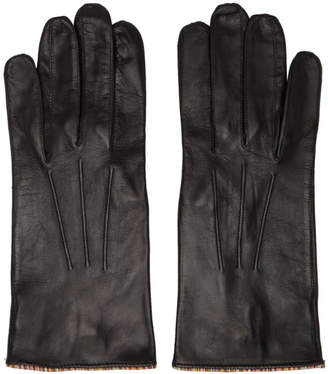 Paul Smith Black Lambskin Striped Pipping Gloves