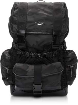 Balmain Black Camouflage Nylon and Leather Elite Backpack