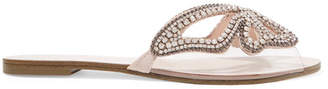 Sophia Webster Madame Butterfly Embellished Suede And Perspex Slides - Silver