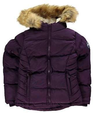 Soul Cal SoulCal Kids Girls 2 Zip Bubble Jacket Junior Padded Coat Top Long Sleeve Hooded