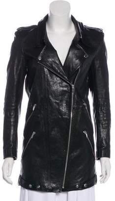 Theory Leather Long Sleeve Jacket