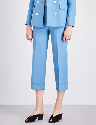 Sandro Cropped high-rise stretch-woven trousers $195 thestylecure.com