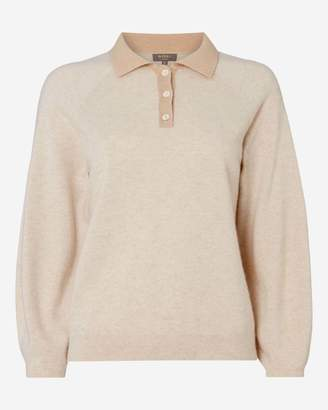 N.Peal Contrast Collar Cashmere Polo Shirt