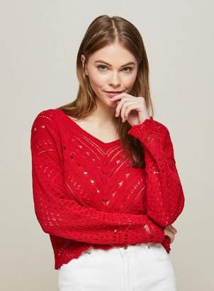 Miss Selfridge Red open knitted summer top