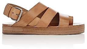 Marsèll WOMEN'S ASYMMETRIC LEATHER SLINGBACK SANDALS-MED. BROWN SIZE 8