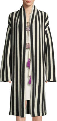 Figue Fatima Belted Striped Alpaca-Blend Cardigan Sweater